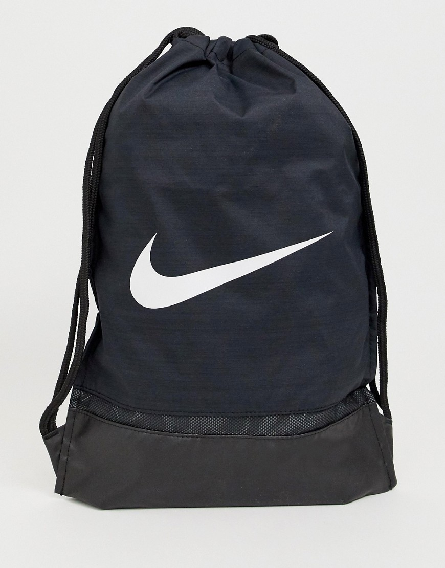 NIKE | Черный рюкзак с затягивающимися шнурками и логотипом-галочкой Nike 010 - | Clouty
