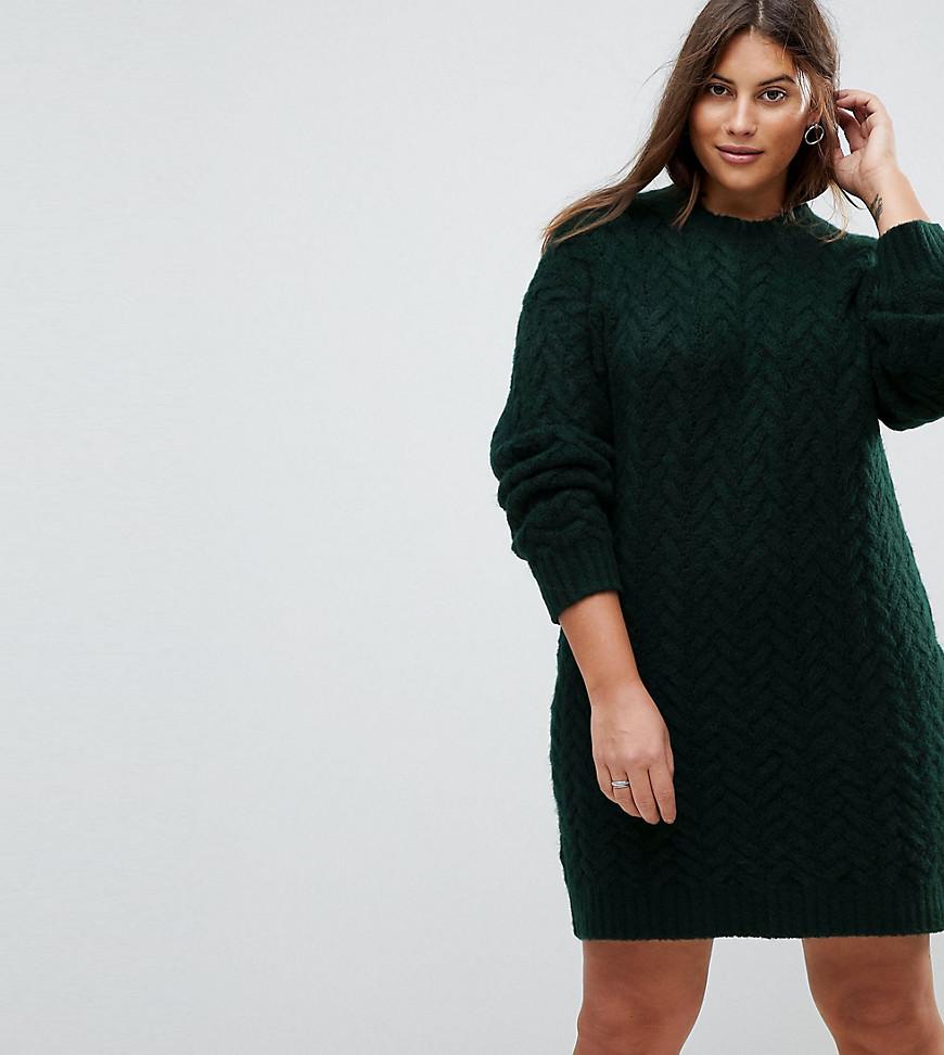 f7ab1c5ea5e Вязаное платье оверсайз с узором косичка ASOS CURVE - Зеленый ...