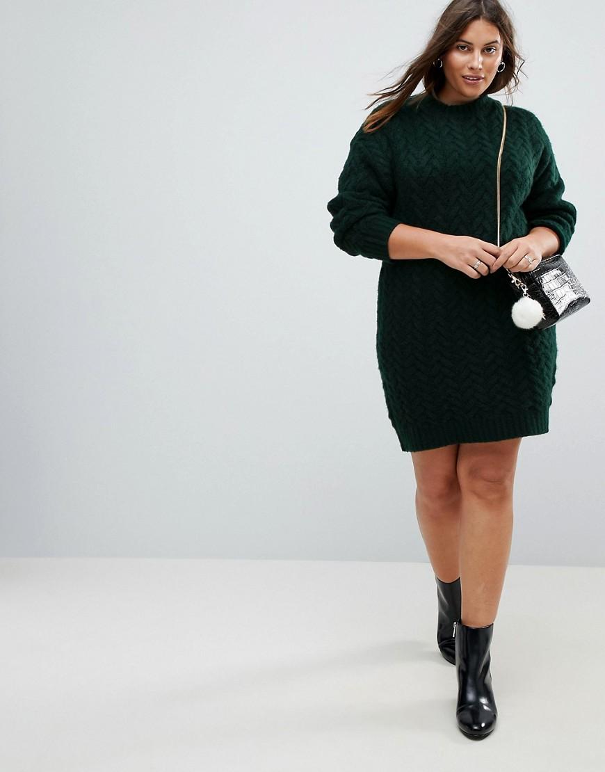 ASOS | Вязаное платье оверсайз с узором косичка ASOS CURVE - Зеленый | Clouty