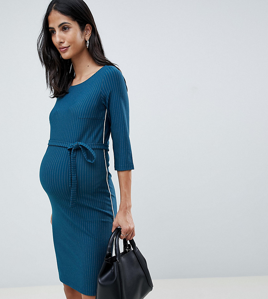Mama Licious | Платье миди с поясом Mamalicious - Темно-синий | Clouty