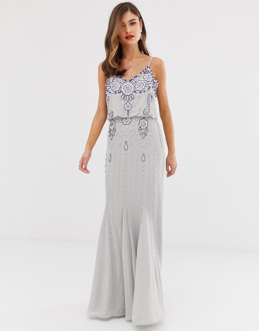 Frock And Frill | Декорированное платье макси Frock & Frill - Серый | Clouty