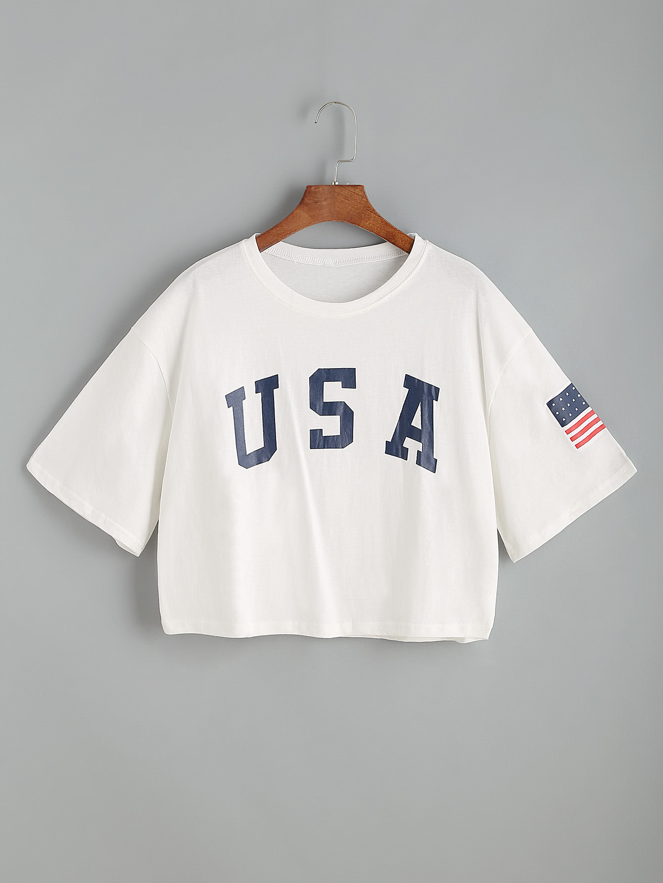 Shein | USA Flag Print Drop Shoulder Crop Tee | Clouty