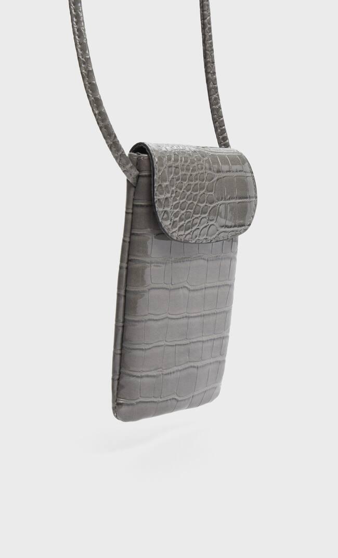 Stradivarius | Stradivarius Mock Croc Smartphone Crossbody Bag Женская Коллекция Пестро-Серый 103 | Clouty