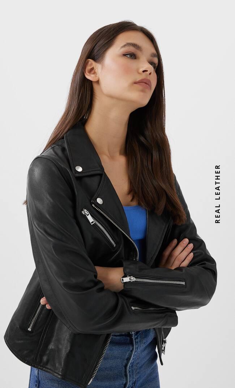 Stradivarius | Кожаная байкерская куртка | Clouty