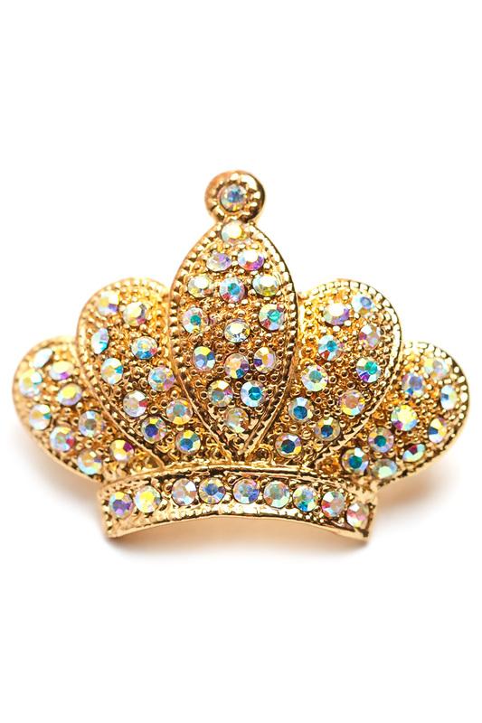 "Сhantal | Золотистый, белый Брошь ""Корона"" CHANTAL | Clouty"
