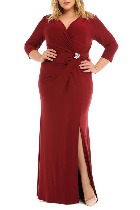 Svesta   Бордовый Платье с брошью Svesta   Clouty
