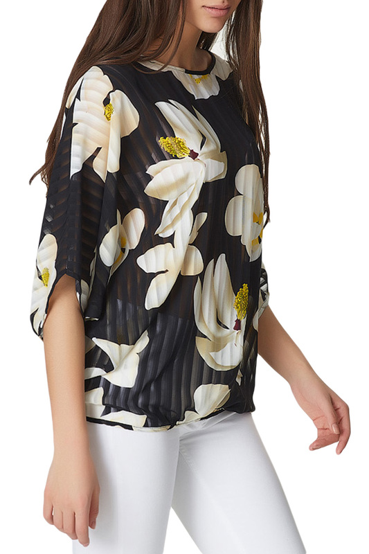 Fly | Цветы, черный Блуза Fly | Clouty