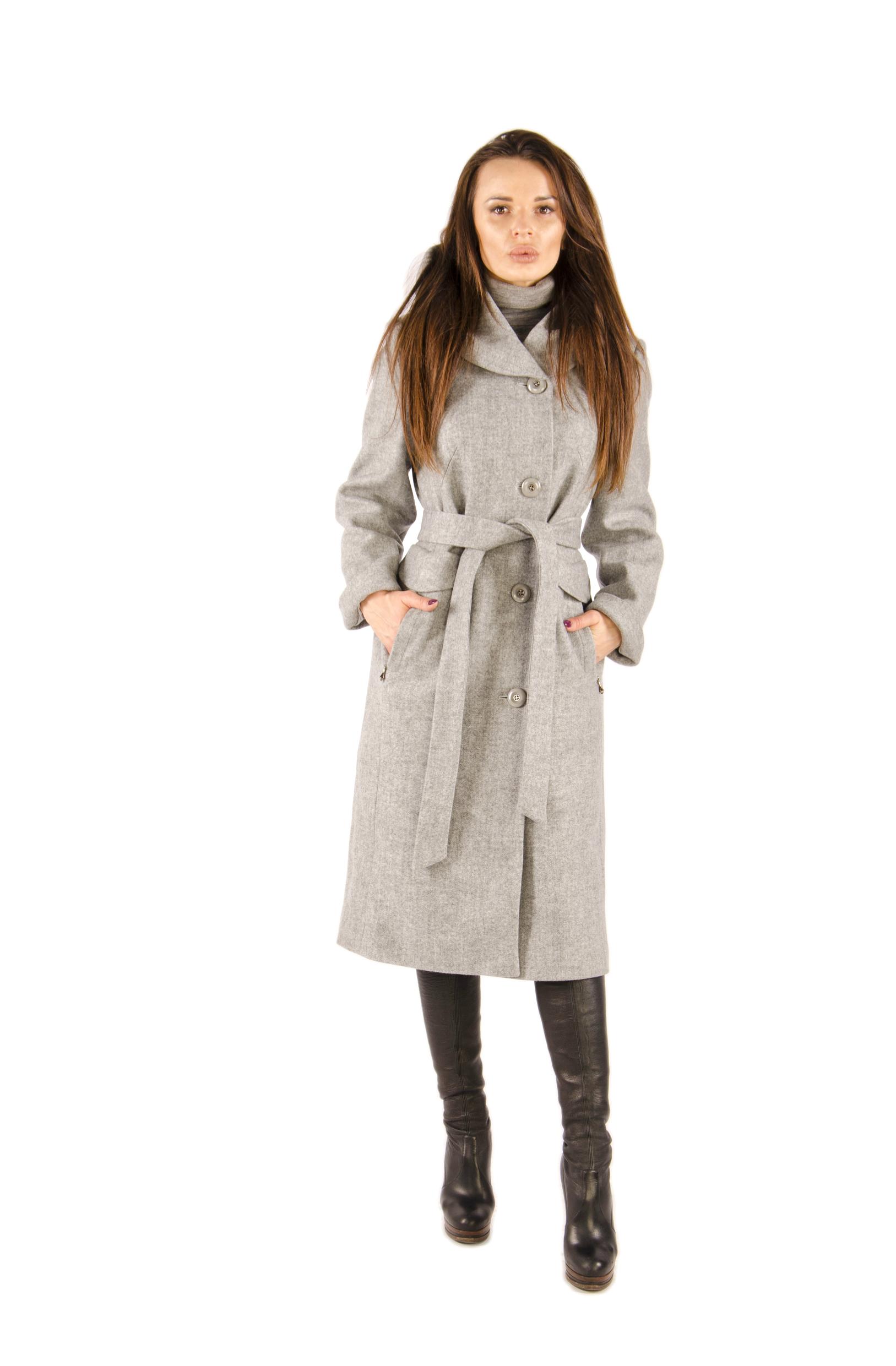 Московская Меховая Компания | серый Женское пальто с капюшоном, без отделки | Clouty