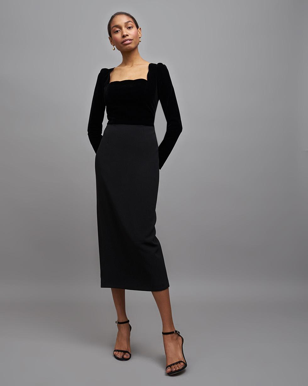 12Storeez | Платье с бархатным лифом L | Clouty