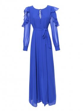 Marina Rinaldi | Платье макси из шелкового шифона с оборками и вырезами на рукавах | Clouty