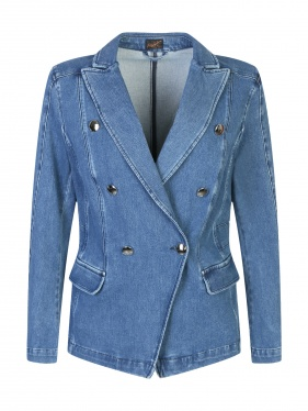 Marina Rinaldi | Двубортный джинсовый жакет из светлого денима | Clouty