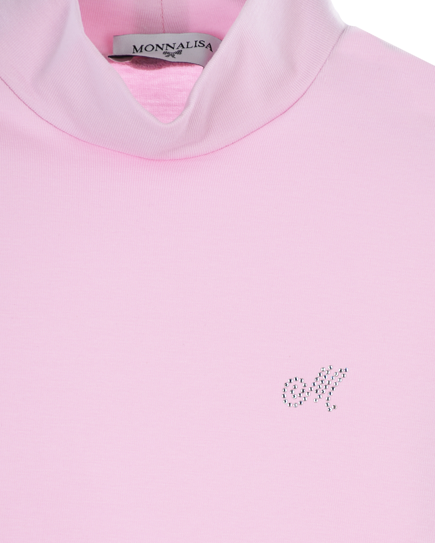 Monnalisa | Розовая водолазка с логотипом Monnalisa детская | Clouty