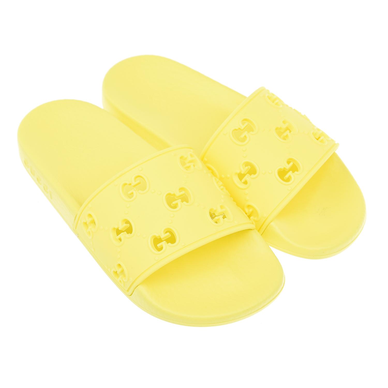 GUCCI | Желтые шлепанцы с перфорированным логотипом GUCCI детские | Clouty