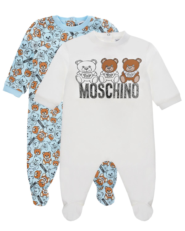 MOSCHINO | Подарочный набор из двух комбинезонов, белый/голубой Moschino детский | Clouty