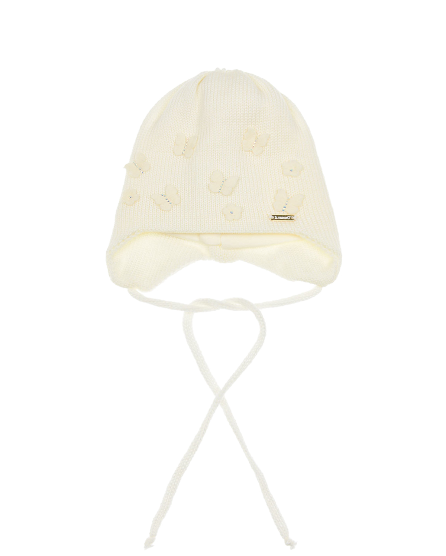 "Il Trenino | Шерстяная шапка с декором ""бабочки"" Il Trenino детская | Clouty"