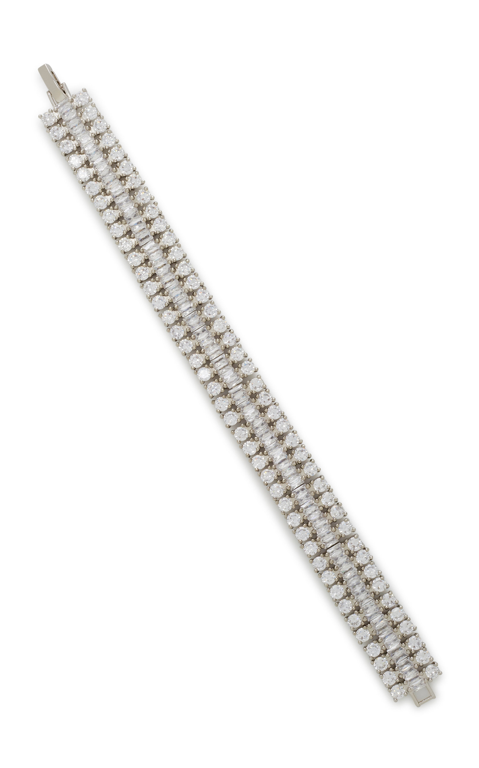 Fallon | FALLON Rhodium And Crystal Bracelet | Clouty