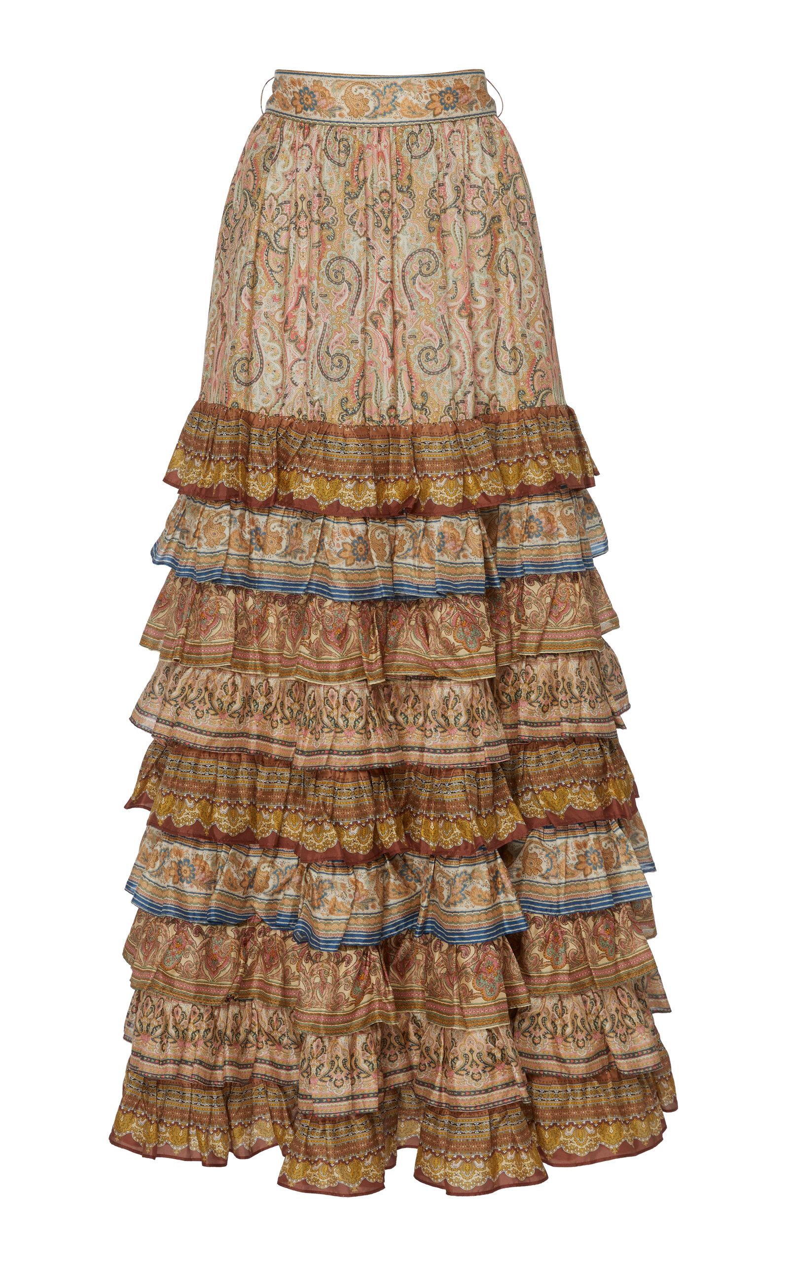 Zimmermann   Zimmermann Tiered Printed Silk Maxi Skirt   Clouty