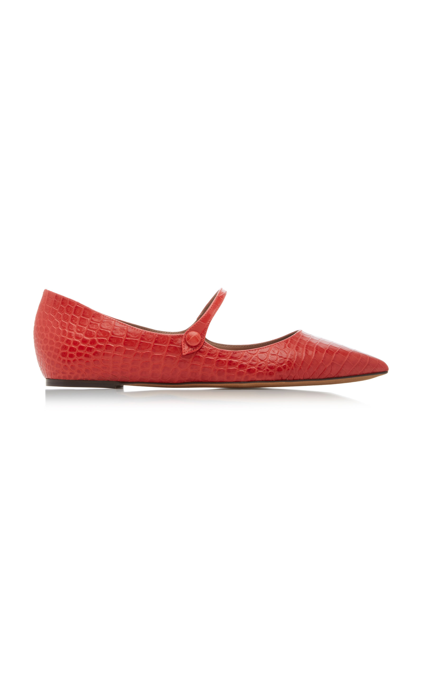 Tabitha Simmons | Tabitha Simmons Hermione Metallic Croc-Embossed Leather Flats | Clouty