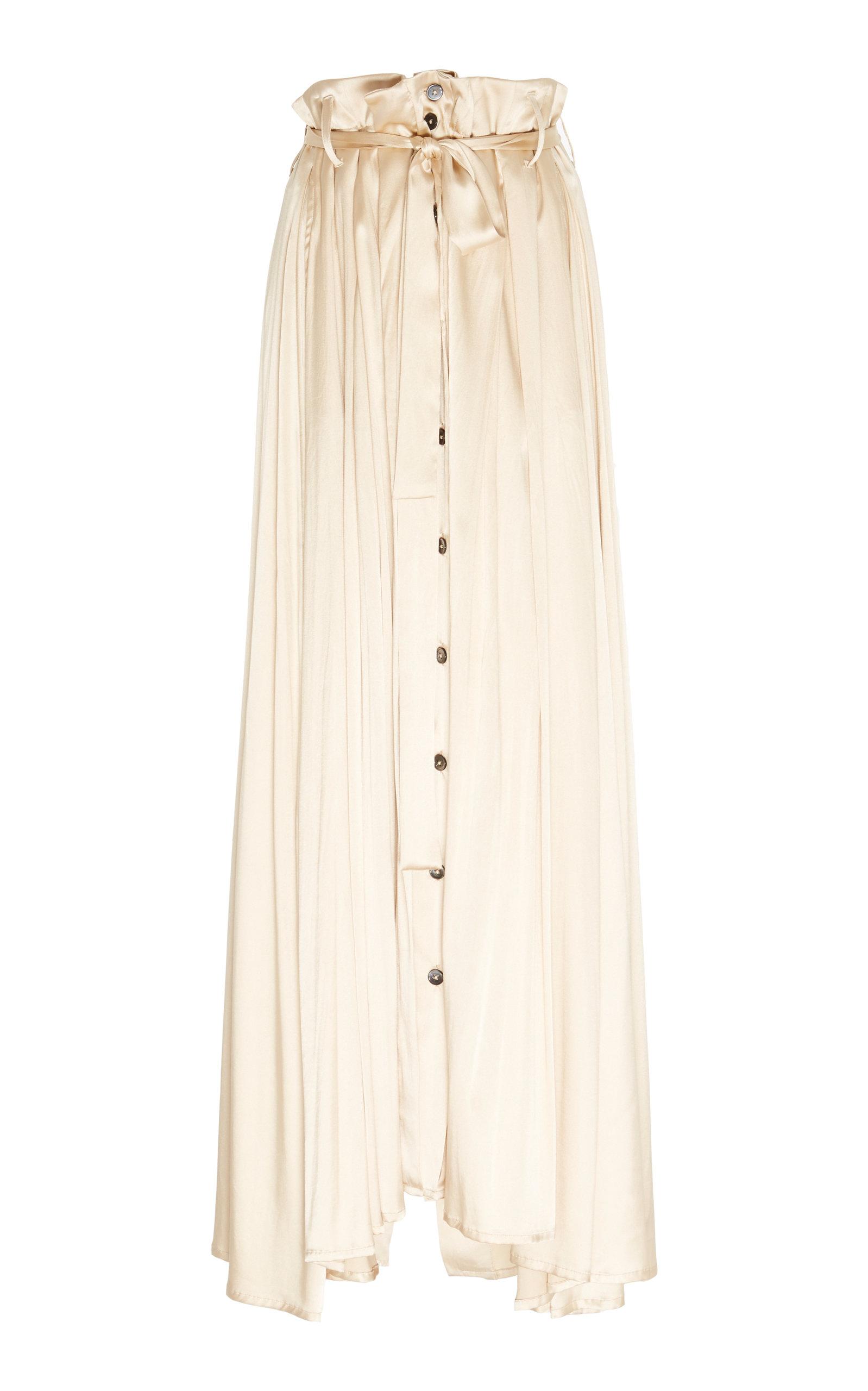 Ann Demeulemeester | Ann Demeulemeester Belted Satin Maxi Skirt | Clouty