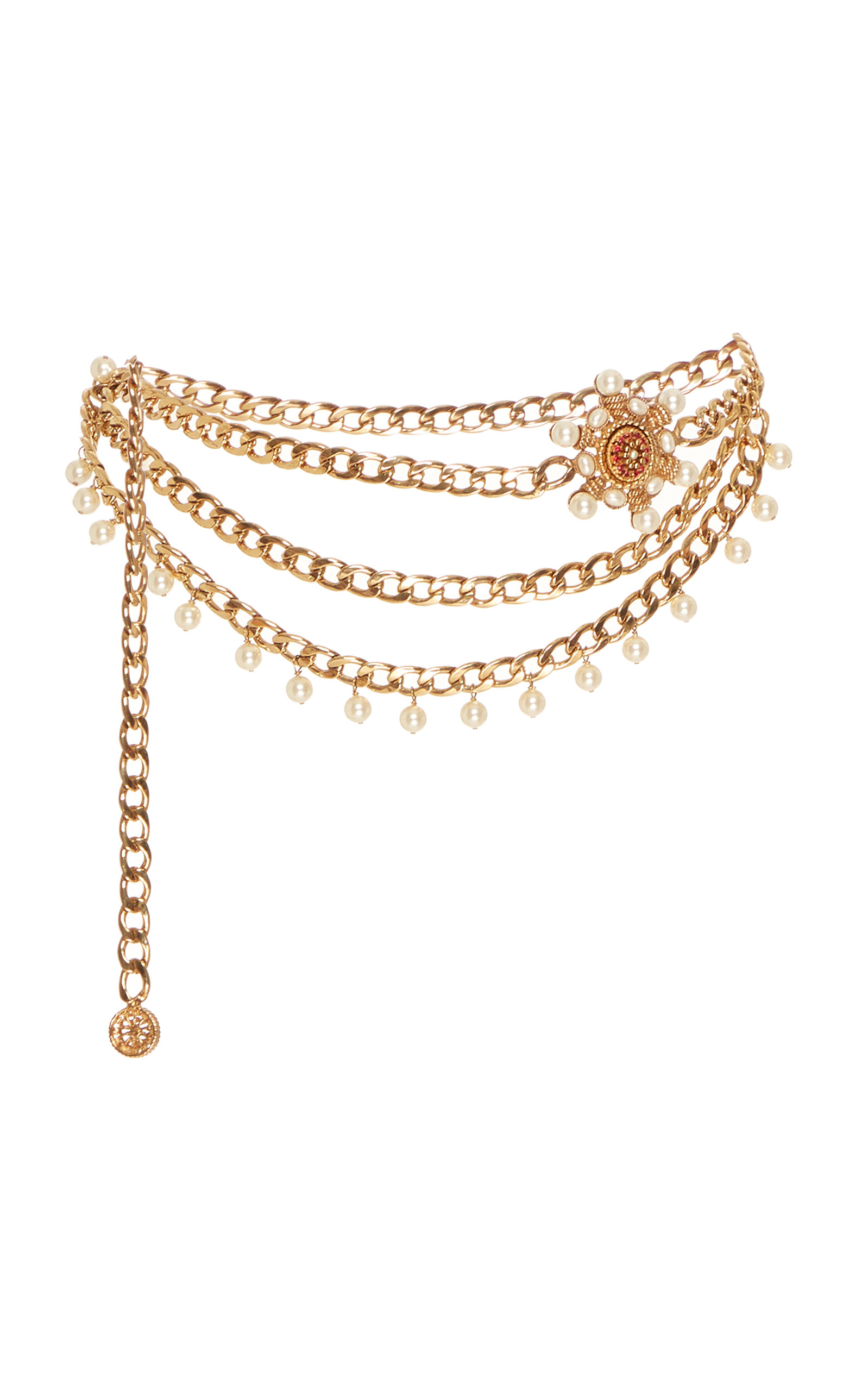 Markarian | Markarian Valeria Embellished Gold-Plated Belt | Clouty