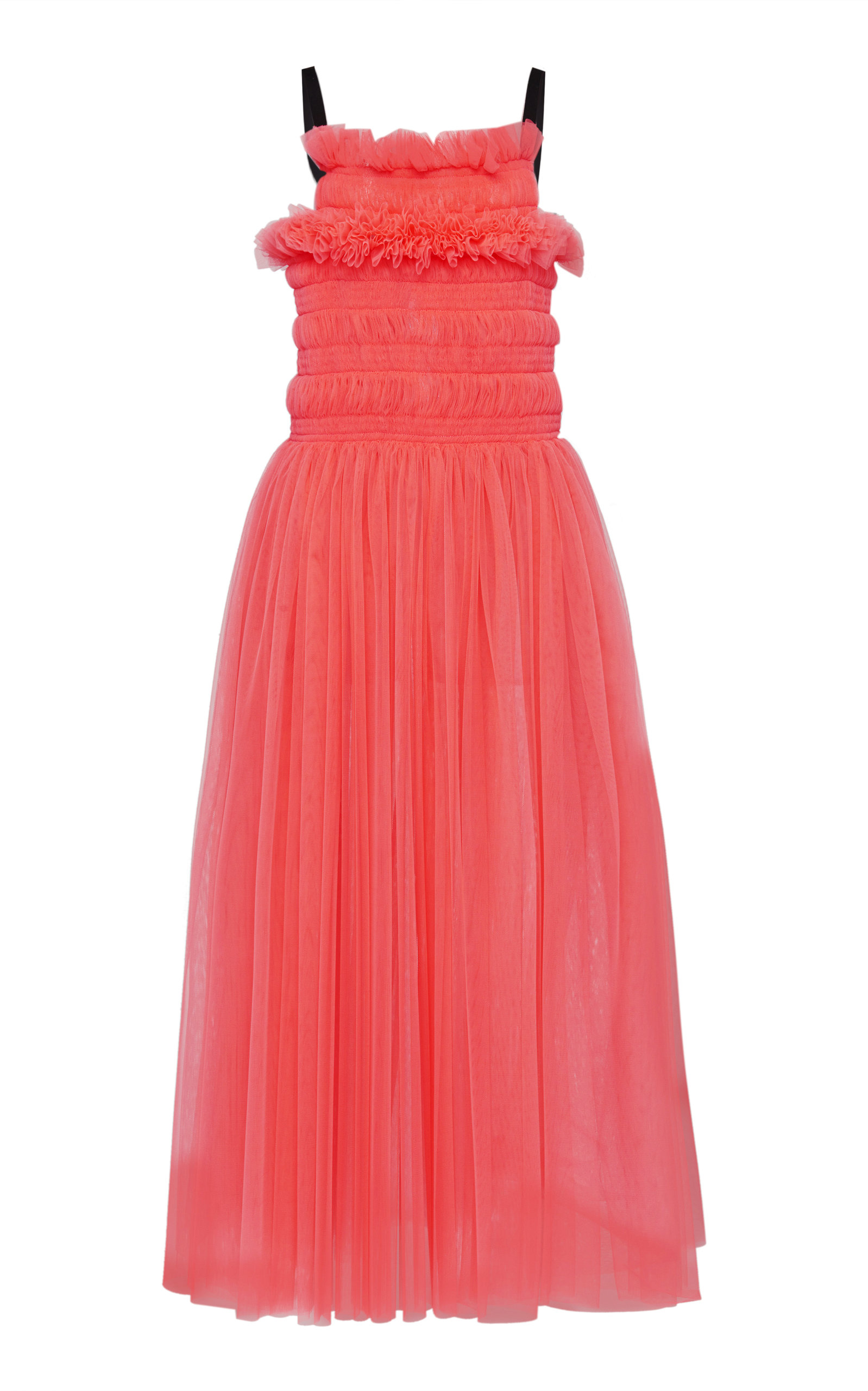 Molly Goddard | Molly Goddard Shelly Tie-Back Smocked Tulle Midi Dress | Clouty