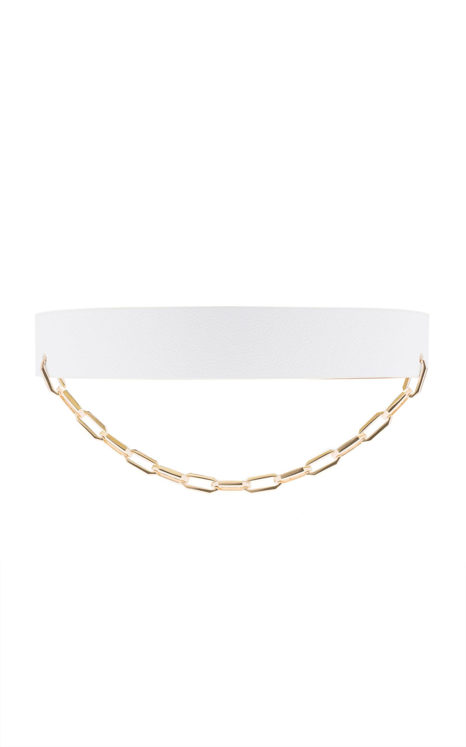 Maison Vaincourt | Maison Vaincourt Chain-Detailed Wide Pebbled Leather Belt | Clouty