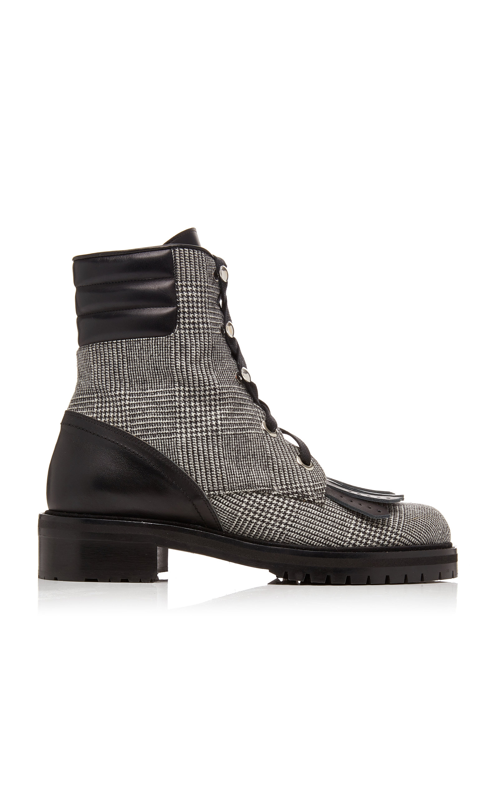 Tabitha Simmons | Tabitha Simmons Rhodes Leather-Trimmed Houndstooth Wool Ankle Boots | Clouty