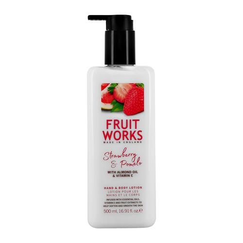 FRUIT WORKS | Лосьон для тела и рук FRUIT WORKS STRAWBERRY & POMELO c миндальным маслом и витамином E 500 мл | Clouty