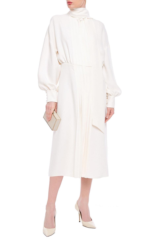 VALENTINO | Valentino Woman Tie-neck Pleated Silk-crepe Midi Dress Ecru | Clouty