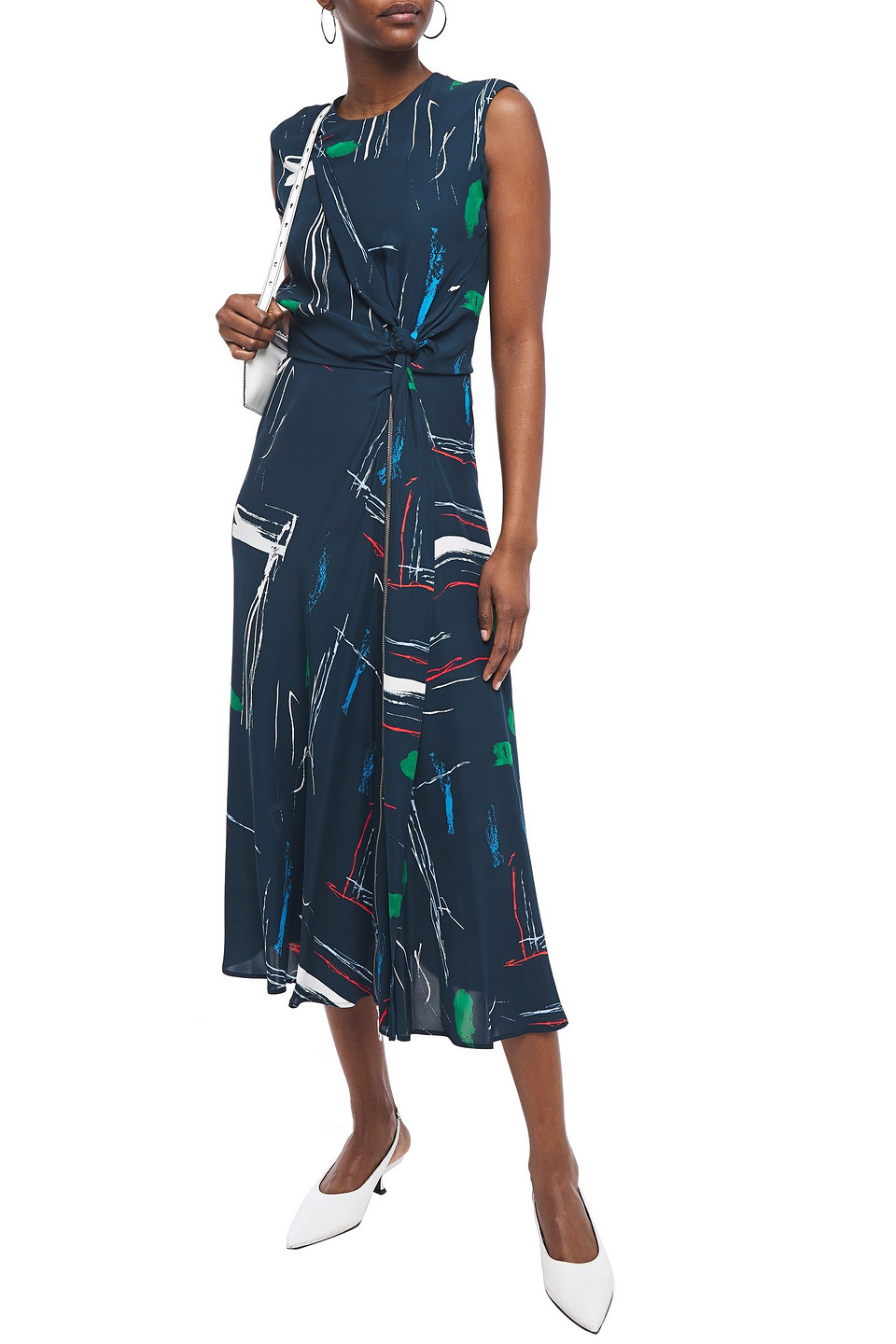 Cédric Charlier   Cedric Charlier Woman Knotted Zip-detailed Printed Crepe Midi Dress Navy   Clouty