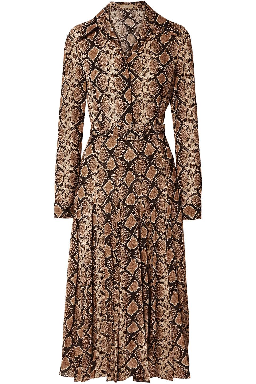 MICHAEL KORS   Michael Kors Collection Woman Belted Snake-print Silk-crepe Midi Dress Light Brown   Clouty