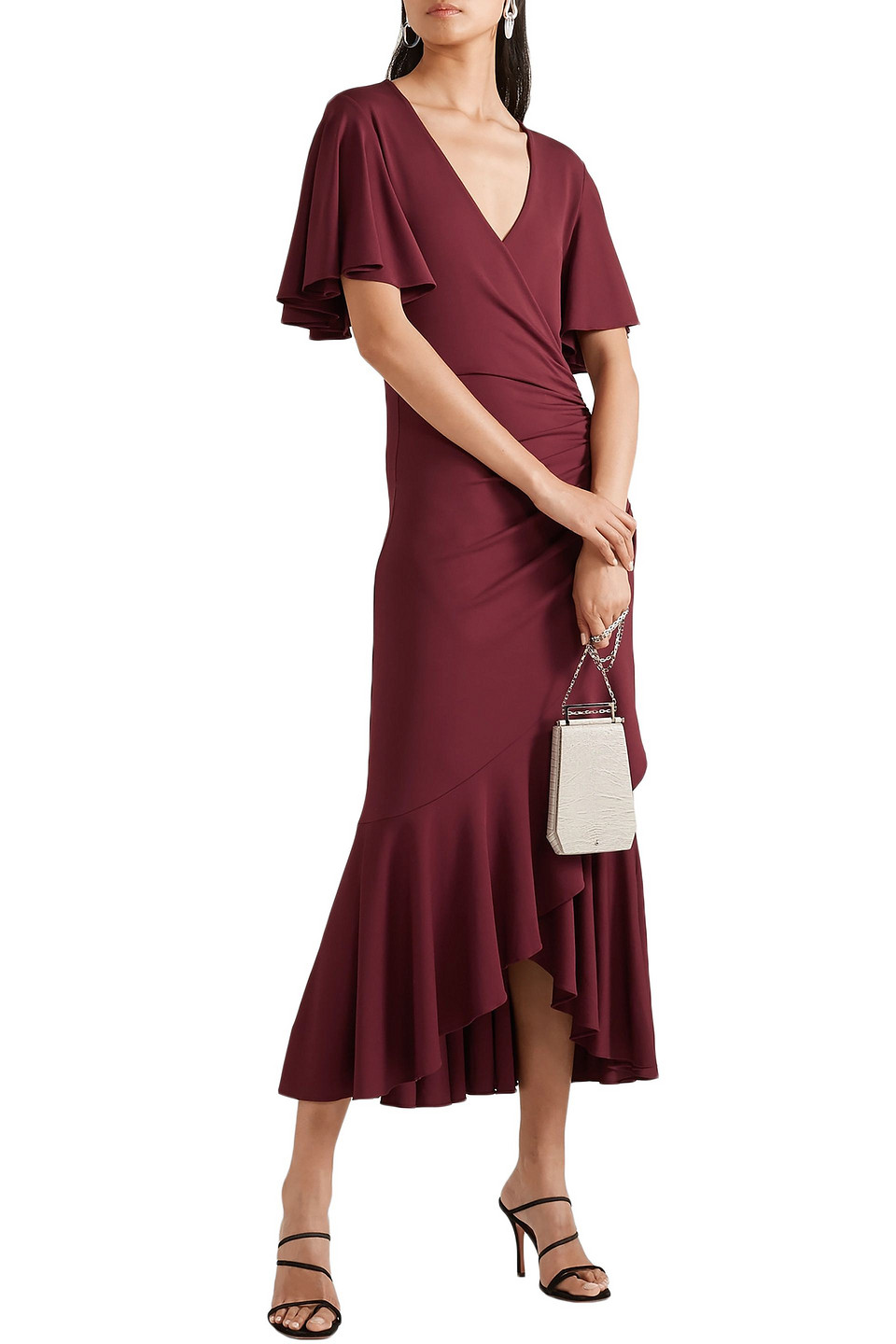 MICHAEL KORS | Michael Kors Collection Woman Wrap-effect Ruched Stretch-jersey Midi Dress Burgundy | Clouty