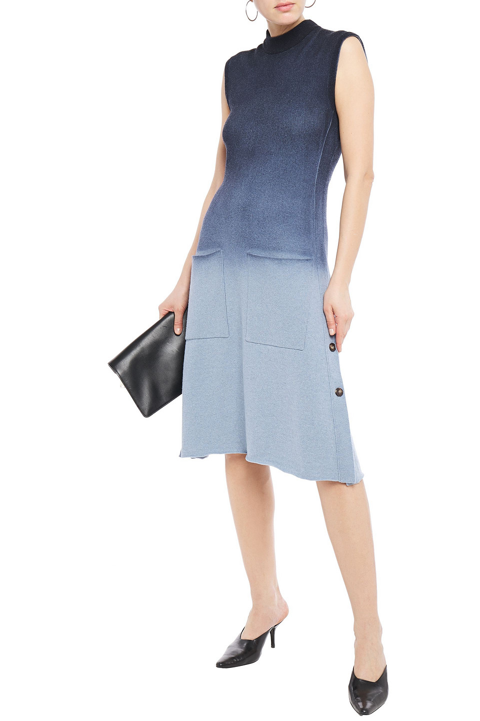 Cédric Charlier | Cedric Charlier Woman Degrade Wool-blend Midi Dress Light Blue | Clouty