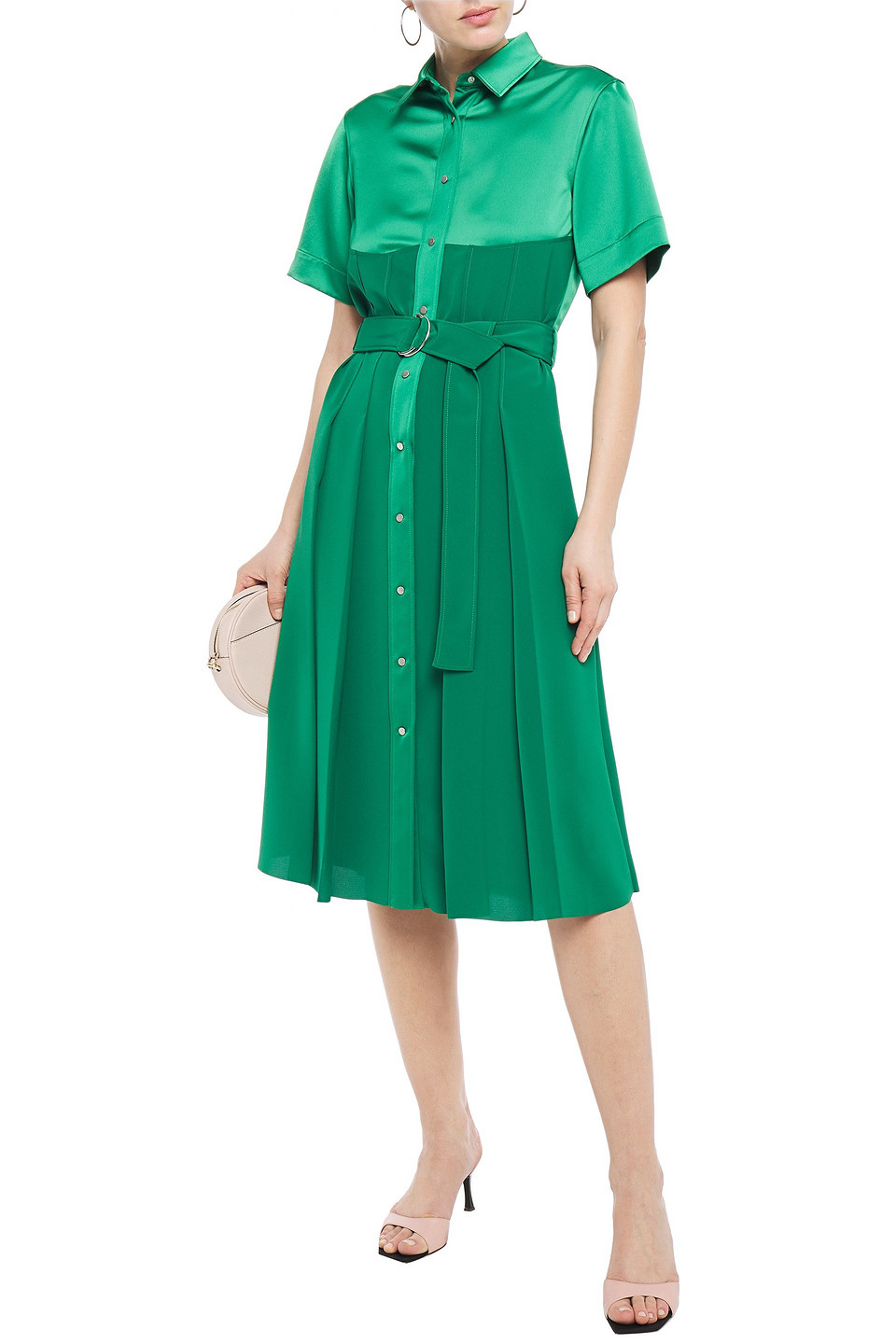 Cédric Charlier | Cedric Charlier Woman Belted Paneled Satin-crepe Midi Dress Green | Clouty