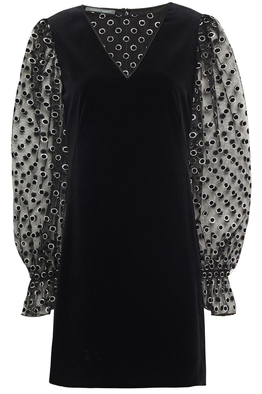 Alberta Ferretti | Alberta Ferretti Woman Glittered Flocked Tulle-paneled Cotton-velvet Mini Dress Black | Clouty