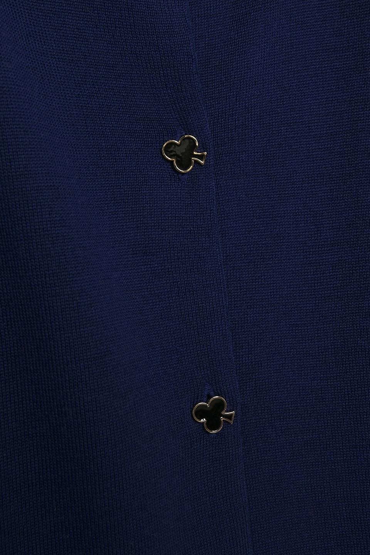 Boutique Moschino | Boutique Moschino Woman Button-detailed Wool Cardigan Indigo | Clouty