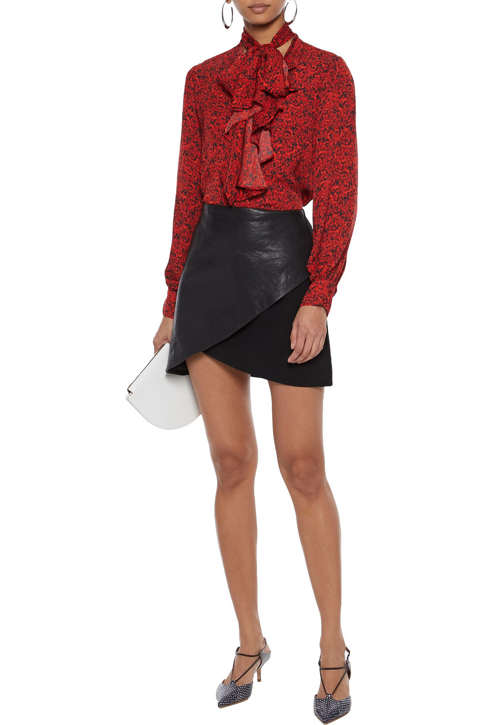 Alice + Olivia | Alice + Olivia Woman Tammy Pussy-bow Floral-print Crepe De Chine Blouse Red | Clouty