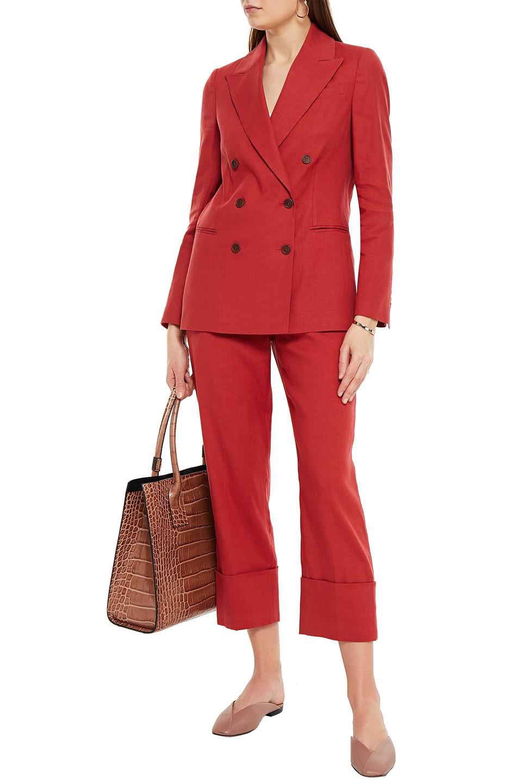 Brunello Cucinelli | Brunello Cucinelli Woman Double-breasted Linen-blend Twill Blazer Red | Clouty
