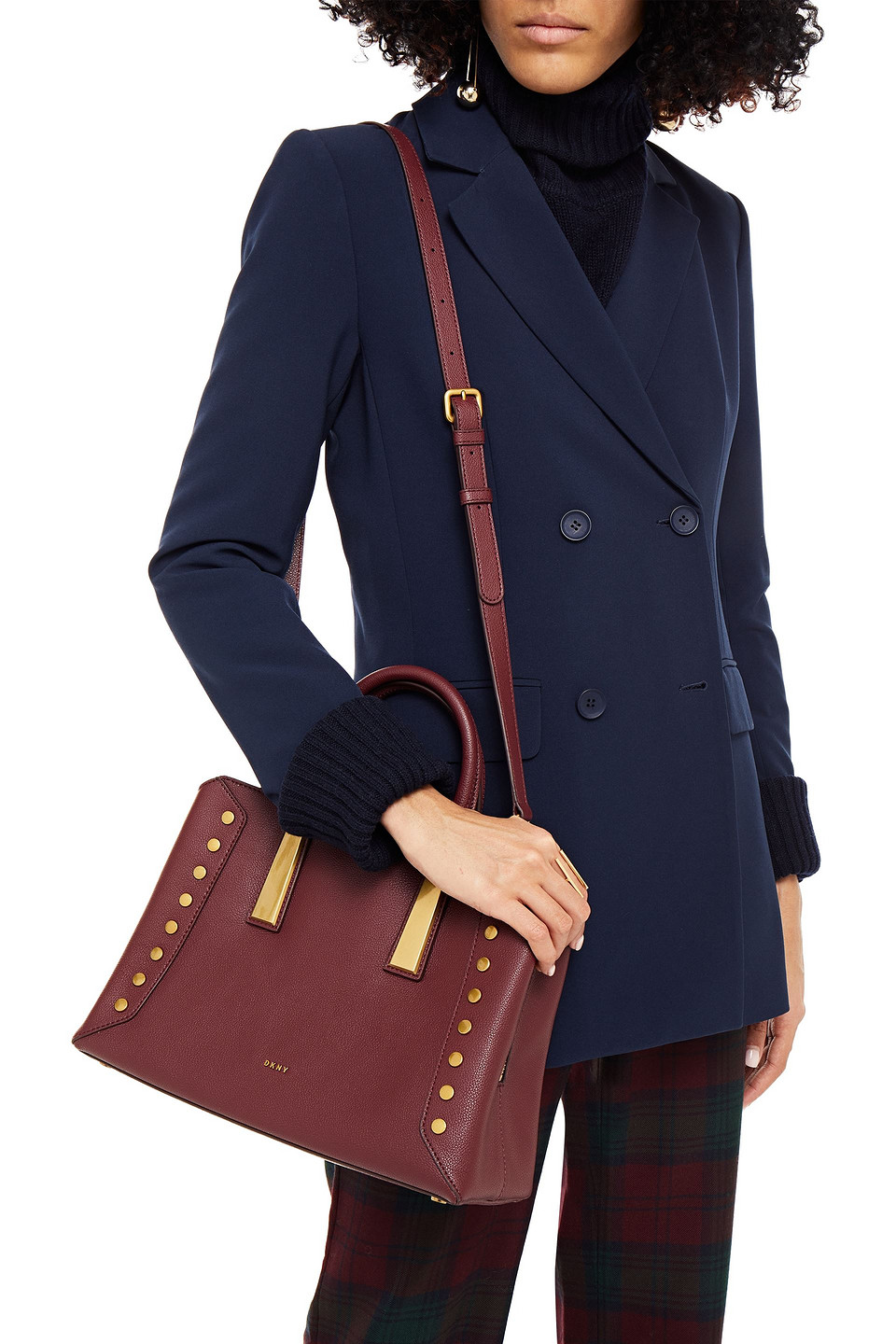 DKNY | Dkny Woman Ewen Studded Pebbled-leather Tote Burgundy | Clouty