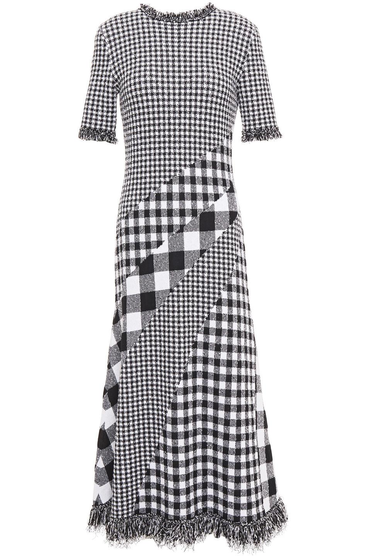 Oscar De La Renta | Oscar De La Renta Woman Frayed Gingham Jacquard Midi Dress Black | Clouty