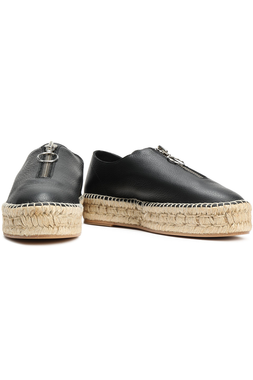 Alexander Wang | Alexander Wang Woman Devon Pebbled-leather Espadrilles Black | Clouty