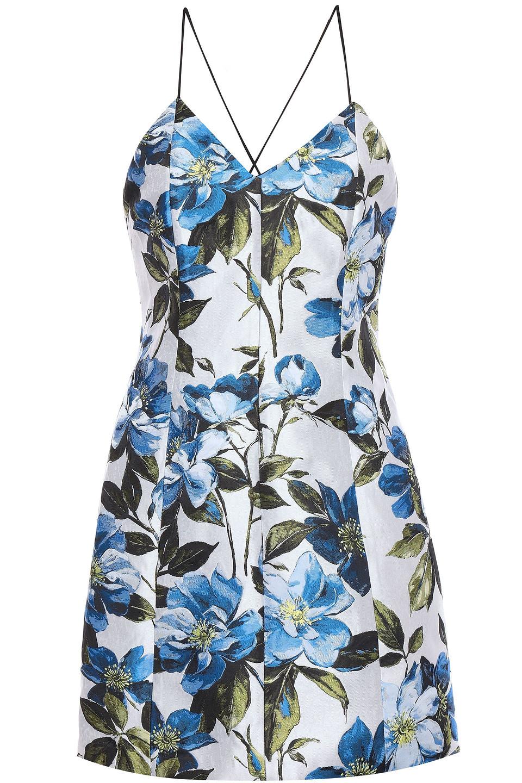 Alice + Olivia | Alice + Olivia Woman Tayla Floral-jacquard Mini Dress Off-white | Clouty