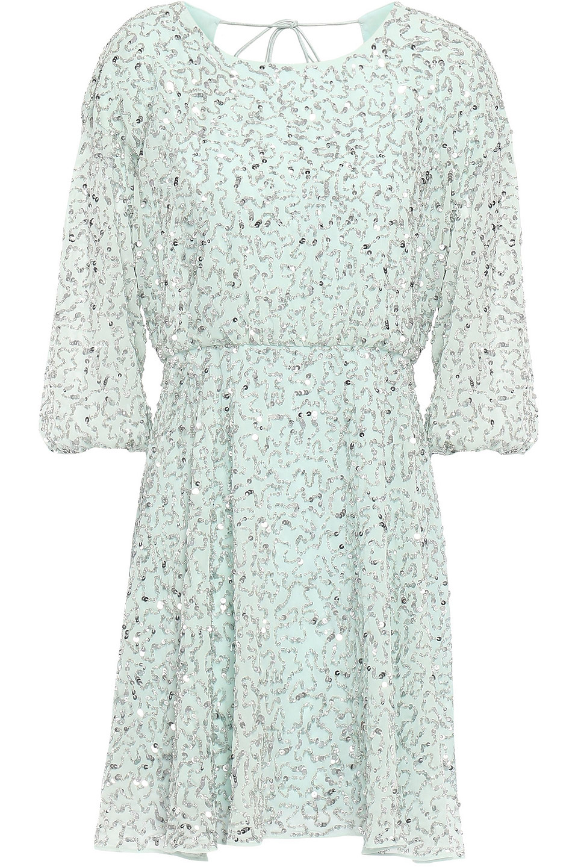 Alice + Olivia | Alice + Olivia Woman Palmira Embellished Chiffon Mini Dress Mint | Clouty
