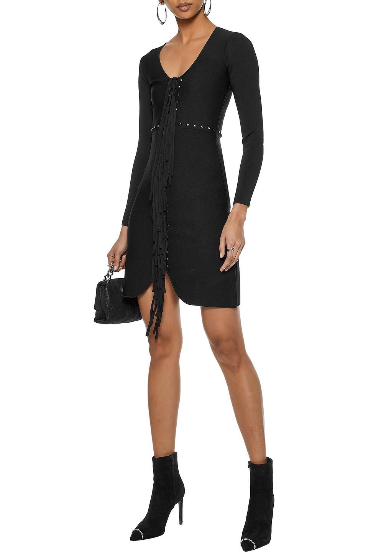 Alexander Wang | Alexander Wang Woman Fringed Studded Stretch-knit Mini Dress Black | Clouty