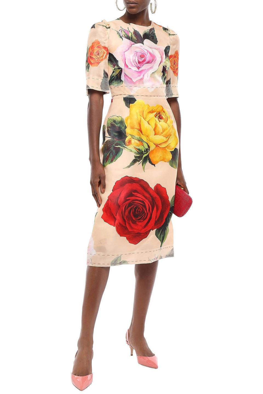 Dolce & Gabbana | Dolce & Gabbana Woman Tulle-trimmed Floral-print Silk-blend Midi Dress Pastel Orange | Clouty