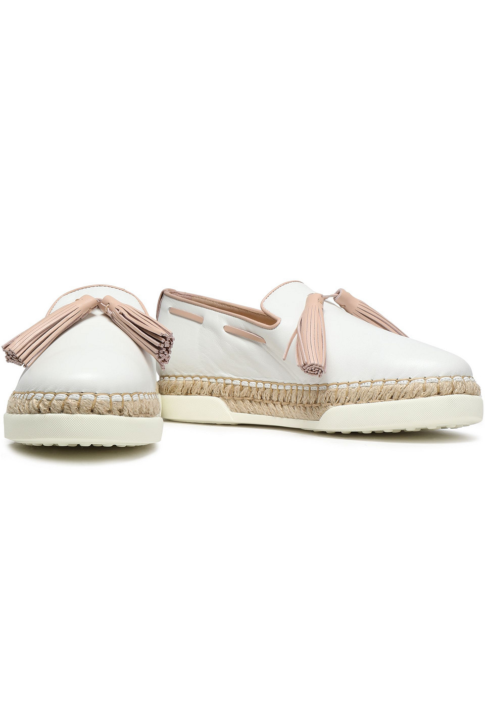 Tod's   Tod's Woman Tasseled Leather Espadrilles White   Clouty