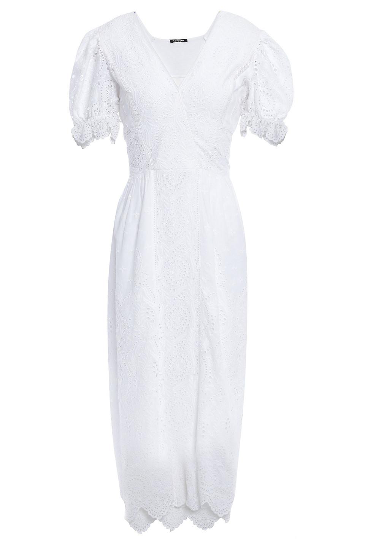 LOVE SAM   Love Sam Woman Bella Mousseline-paneled Broderie Anglaise Cotton Midi Dress White   Clouty