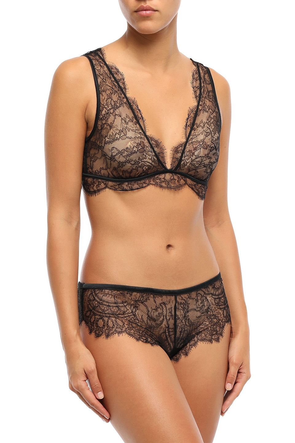 LOVE STORIES | Love Stories Woman Cherie Chantilly Lace Soft-cup Triangle Bra Black | Clouty