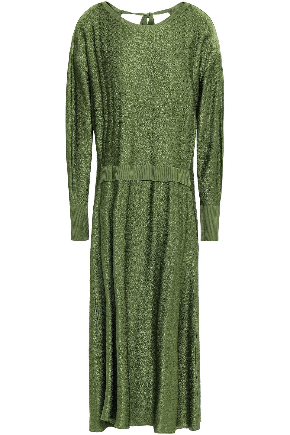 Esteban Cortazar | Esteban Cortazar Woman Jacquard-knit Midi Dress Sage Green | Clouty
