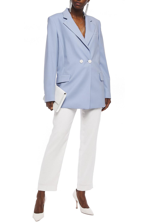 Oscar De La Renta | Oscar De La Renta Woman Double-breasted Wool-blend Twill Blazer Light Blue | Clouty